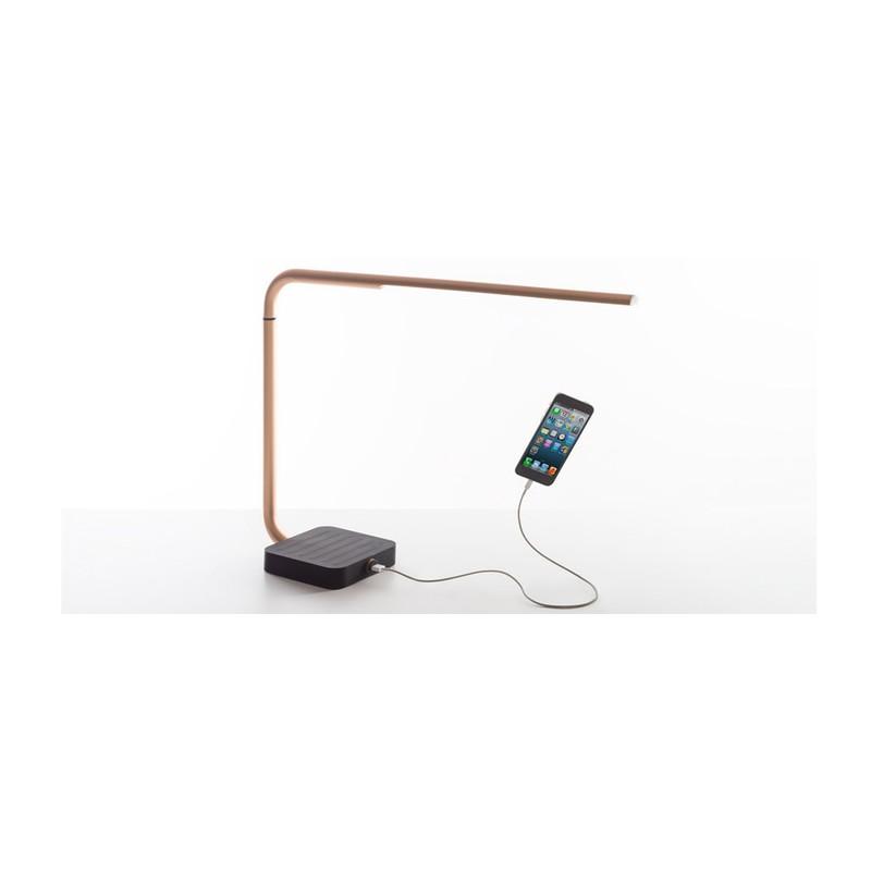 lampe de bureau design raffin chargeur sans fil led cuivr e. Black Bedroom Furniture Sets. Home Design Ideas