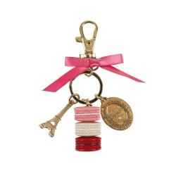 """Porte-clé """"S"""" Macarons rose"""